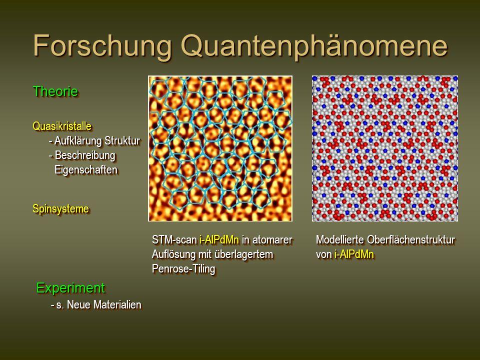 Forschung Quantenphänomene Quasikristalle - Aufklärung Struktur - Aufklärung Struktur - Beschreibung - Beschreibung Eigenschaften EigenschaftenQuasikristalle - Aufklärung Struktur - Aufklärung Struktur - Beschreibung - Beschreibung Eigenschaften Eigenschaften SpinsystemeSpinsysteme TheorieTheorie Experiment - s.