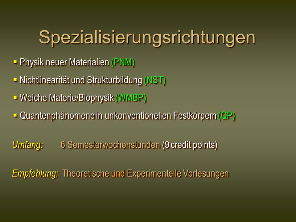 SpezialisierungsrichtungenSpezialisierungsrichtungen  Physik neuer Materialien (PNM)  Nichtlinearität und Strukturbildung (NST)  Weiche Materie/Biophysik (WMBP)  Quantenphänomene in unkonventionellen Festkörpern (QP)  Physik neuer Materialien (PNM)  Nichtlinearität und Strukturbildung (NST)  Weiche Materie/Biophysik (WMBP)  Quantenphänomene in unkonventionellen Festkörpern (QP) Umfang: 6 Semesterwochenstunden (9 credit points) Empfehlung: Theoretische und Experimentelle Vorlesungen Umfang: 6 Semesterwochenstunden (9 credit points) Empfehlung: Theoretische und Experimentelle Vorlesungen