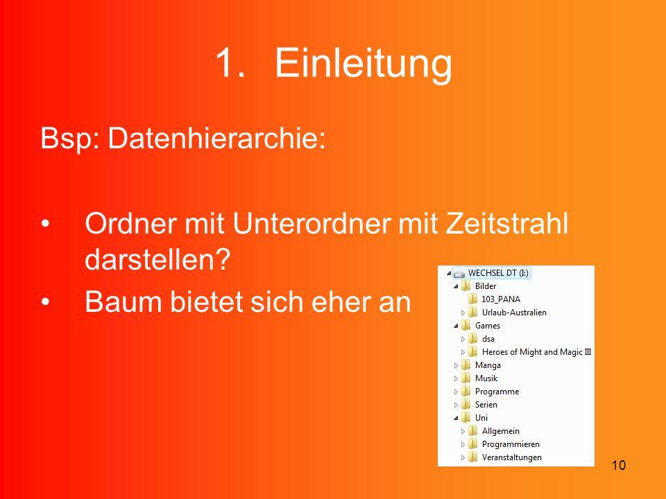 10 1.Einleitung Bsp: Datenhierarchie: Ordner mit Unterordner mit Zeitstrahl darstellen? Baum bietet sich eher an