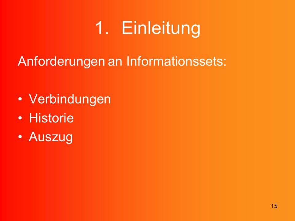 15 1.Einleitung Anforderungen an Informationssets: Verbindungen Historie Auszug