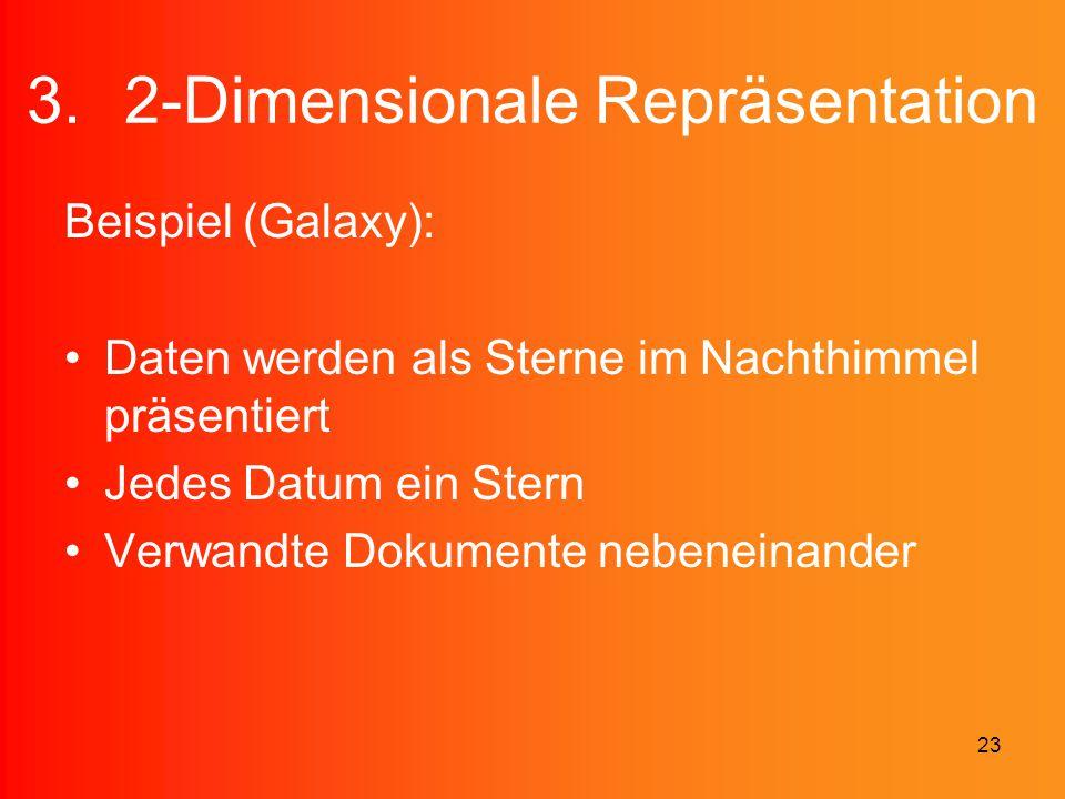 23 3.2-Dimensionale Repräsentation Beispiel (Galaxy): Daten werden als Sterne im Nachthimmel präsentiert Jedes Datum ein Stern Verwandte Dokumente neb