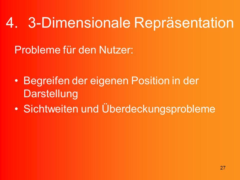 27 4.3-Dimensionale Repräsentation Probleme für den Nutzer: Begreifen der eigenen Position in der Darstellung Sichtweiten und Überdeckungsprobleme