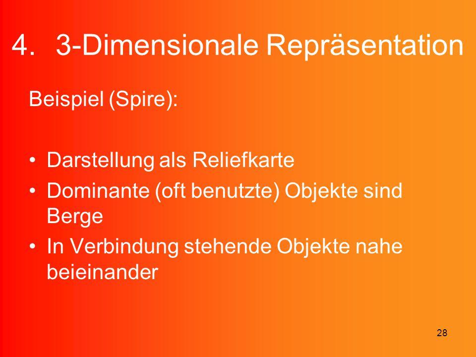 28 4.3-Dimensionale Repräsentation Beispiel (Spire): Darstellung als Reliefkarte Dominante (oft benutzte) Objekte sind Berge In Verbindung stehende Ob