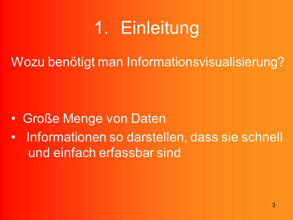 3 1.Einleitung Wozu benötigt man Informationsvisualisierung? Große Menge von Daten Informationen so darstellen, dass sie schnell und einfach erfassbar