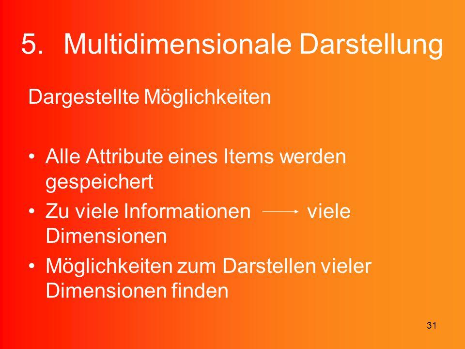 31 5.Multidimensionale Darstellung Dargestellte Möglichkeiten Alle Attribute eines Items werden gespeichert Zu viele Informationen viele Dimensionen M