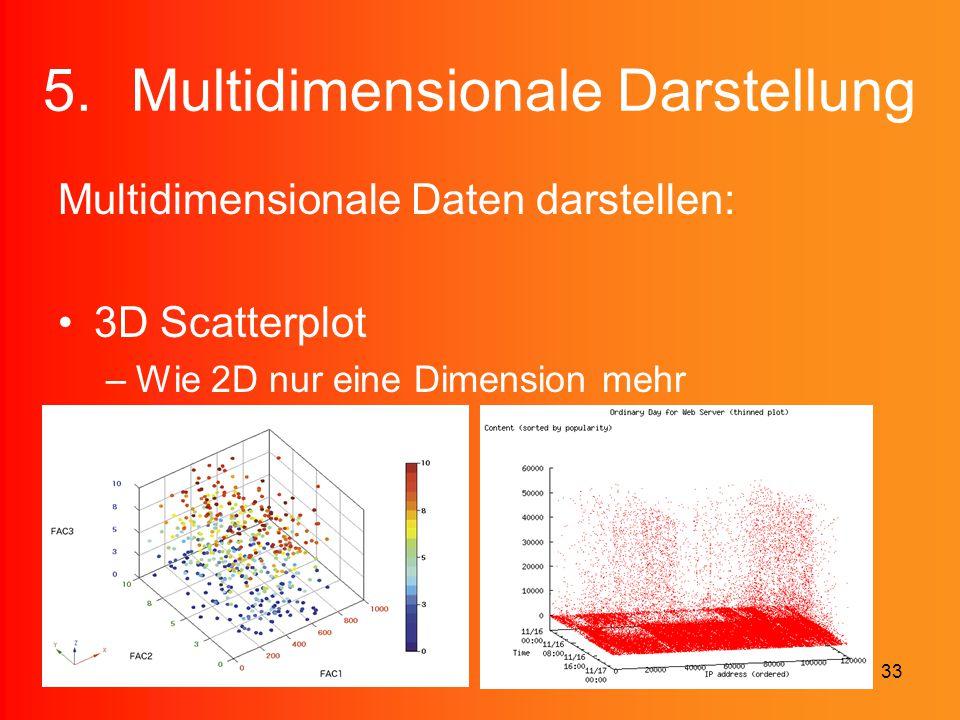 33 5.Multidimensionale Darstellung Multidimensionale Daten darstellen: 3D Scatterplot –Wie 2D nur eine Dimension mehr