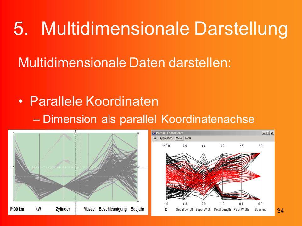 34 5.Multidimensionale Darstellung Multidimensionale Daten darstellen: Parallele Koordinaten –Dimension als parallel Koordinatenachse