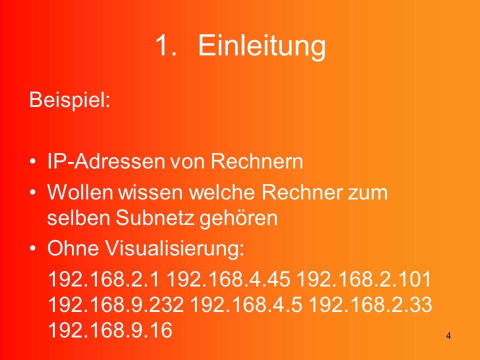 4 1.Einleitung Beispiel: IP-Adressen von Rechnern Wollen wissen welche Rechner zum selben Subnetz gehören Ohne Visualisierung: 192.168.2.1 192.168.4.4