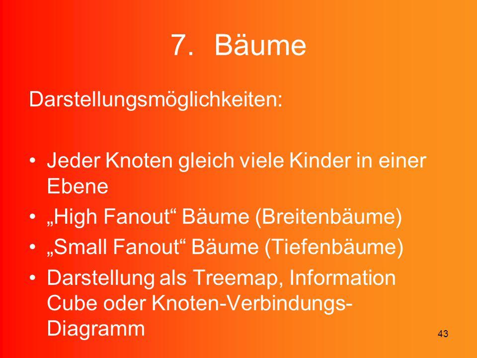 """43 7.Bäume Darstellungsmöglichkeiten: Jeder Knoten gleich viele Kinder in einer Ebene """"High Fanout"""" Bäume (Breitenbäume) """"Small Fanout"""" Bäume (Tiefenb"""