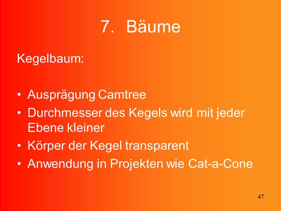 47 7.Bäume Kegelbaum: Ausprägung Camtree Durchmesser des Kegels wird mit jeder Ebene kleiner Körper der Kegel transparent Anwendung in Projekten wie C