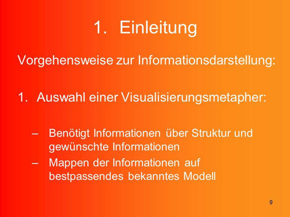 9 1.Einleitung Vorgehensweise zur Informationsdarstellung: 1.Auswahl einer Visualisierungsmetapher: –Benötigt Informationen über Struktur und gewünsch
