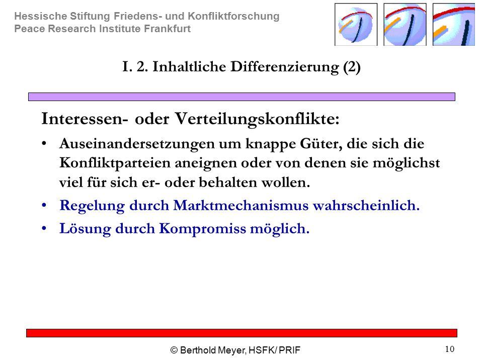 Hessische Stiftung Friedens- und Konfliktforschung Peace Research Institute Frankfurt © Berthold Meyer, HSFK/ PRIF 10 I.