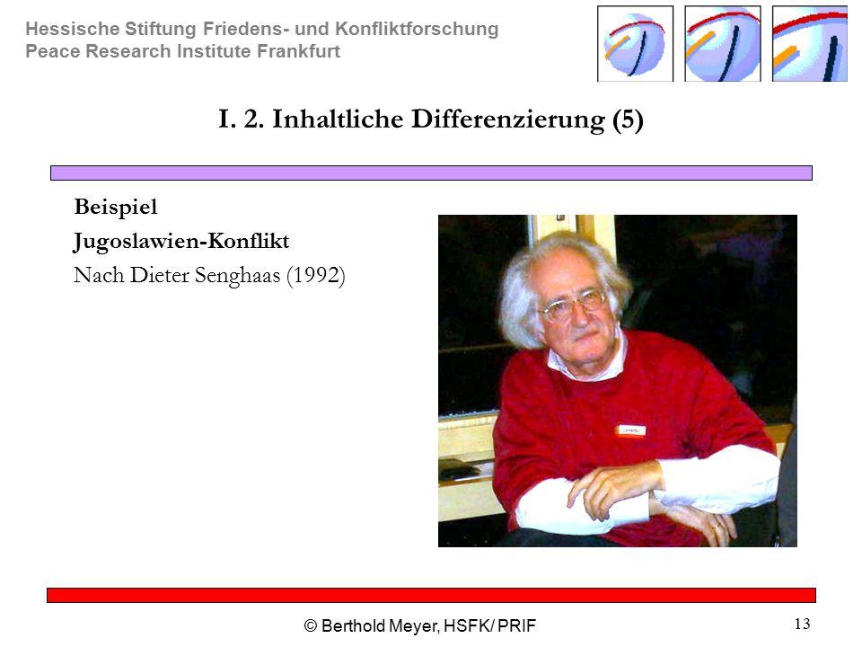 Hessische Stiftung Friedens- und Konfliktforschung Peace Research Institute Frankfurt © Berthold Meyer, HSFK/ PRIF 13 I.