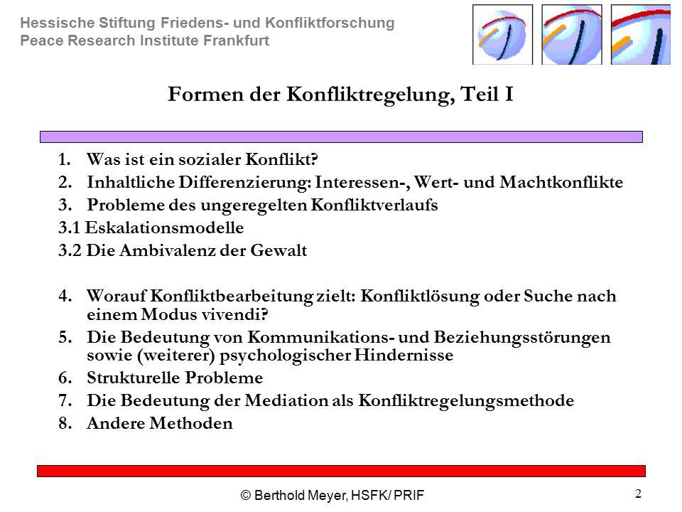 Hessische Stiftung Friedens- und Konfliktforschung Peace Research Institute Frankfurt © Berthold Meyer, HSFK/ PRIF 2 Formen der Konfliktregelung, Teil I 1.