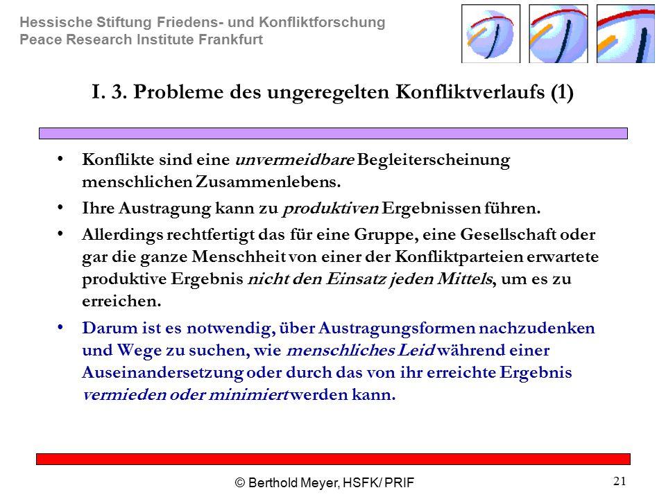 Hessische Stiftung Friedens- und Konfliktforschung Peace Research Institute Frankfurt © Berthold Meyer, HSFK/ PRIF 21 I.