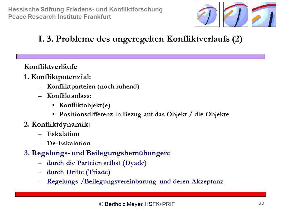 Hessische Stiftung Friedens- und Konfliktforschung Peace Research Institute Frankfurt © Berthold Meyer, HSFK/ PRIF 22 I.