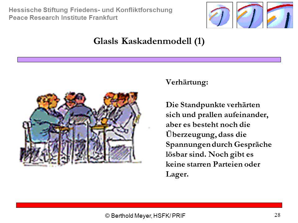 Hessische Stiftung Friedens- und Konfliktforschung Peace Research Institute Frankfurt © Berthold Meyer, HSFK/ PRIF 28 Glasls Kaskadenmodell (1) Verhärtung: Die Standpunkte verhärten sich und prallen aufeinander, aber es besteht noch die Überzeugung, dass die Spannungen durch Gespräche lösbar sind.