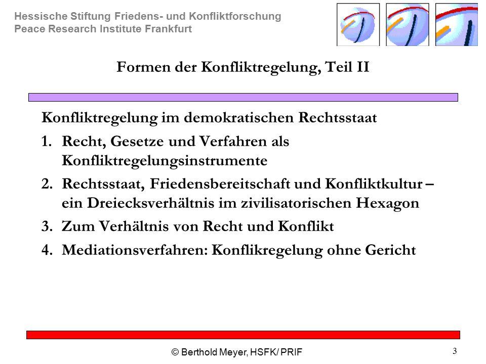 Hessische Stiftung Friedens- und Konfliktforschung Peace Research Institute Frankfurt © Berthold Meyer, HSFK/ PRIF 3 Formen der Konfliktregelung, Teil II Konfliktregelung im demokratischen Rechtsstaat 1.