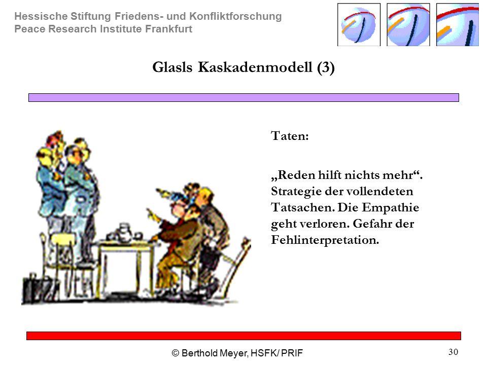 """Hessische Stiftung Friedens- und Konfliktforschung Peace Research Institute Frankfurt © Berthold Meyer, HSFK/ PRIF 30 Glasls Kaskadenmodell (3) Taten: """"Reden hilft nichts mehr ."""