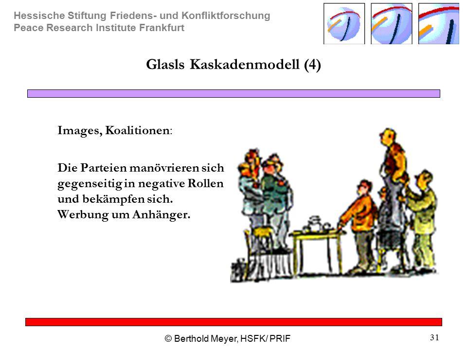 Hessische Stiftung Friedens- und Konfliktforschung Peace Research Institute Frankfurt © Berthold Meyer, HSFK/ PRIF 31 Glasls Kaskadenmodell (4) Images, Koalitionen: Die Parteien manövrieren sich gegenseitig in negative Rollen und bekämpfen sich.