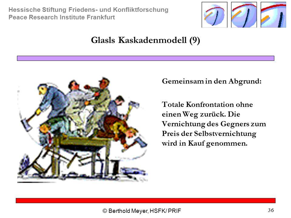 Hessische Stiftung Friedens- und Konfliktforschung Peace Research Institute Frankfurt © Berthold Meyer, HSFK/ PRIF 36 Glasls Kaskadenmodell (9) Gemeinsam in den Abgrund: Totale Konfrontation ohne einen Weg zurück.
