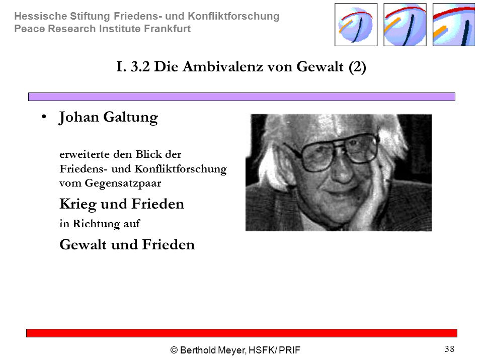 Hessische Stiftung Friedens- und Konfliktforschung Peace Research Institute Frankfurt © Berthold Meyer, HSFK/ PRIF 38 I.