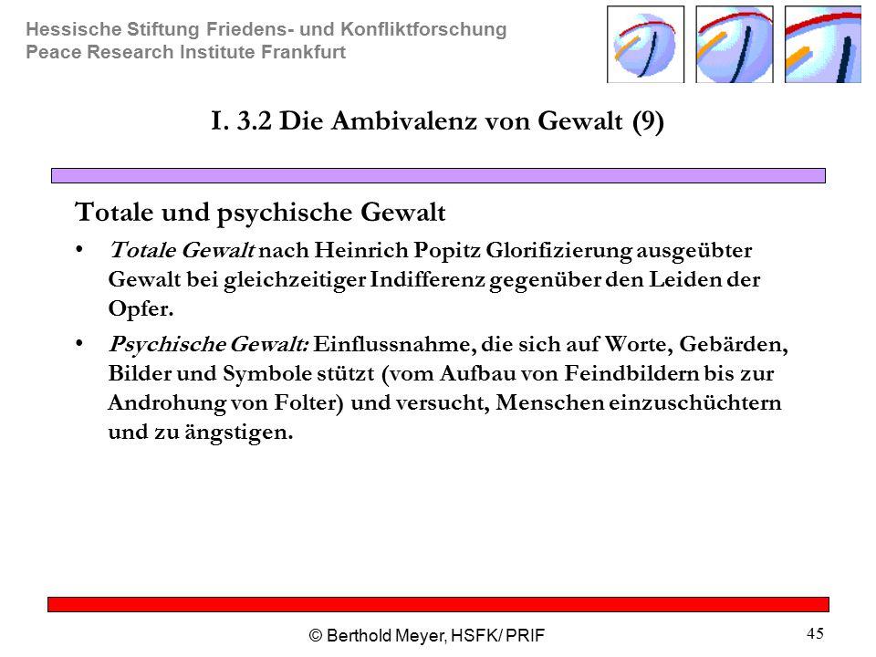 Hessische Stiftung Friedens- und Konfliktforschung Peace Research Institute Frankfurt © Berthold Meyer, HSFK/ PRIF 45 I.
