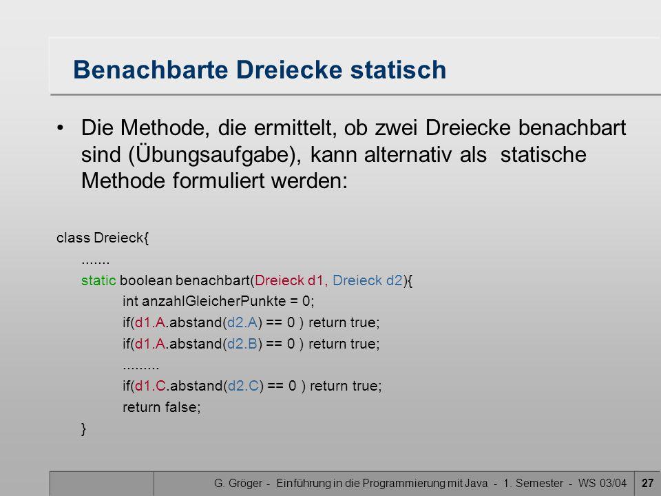 G. Gröger - Einführung in die Programmierung mit Java - 1. Semester - WS 03/0427 Benachbarte Dreiecke statisch Die Methode, die ermittelt, ob zwei Dre