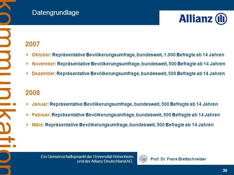 Prof. Dr. Frank Brettschneider 30 Ein Gemeinschaftsprojekt der Universität Hohenheim und der Allianz Deutschland AG. kommunikation Datengrundlage  Ok