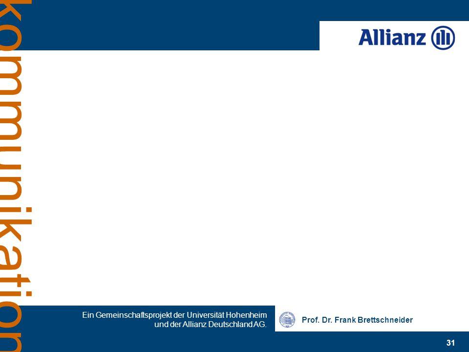 Prof. Dr. Frank Brettschneider 31 Ein Gemeinschaftsprojekt der Universität Hohenheim und der Allianz Deutschland AG. kommunikation