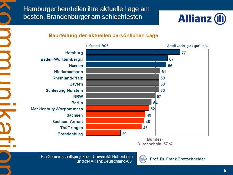 Prof. Dr. Frank Brettschneider Ein Gemeinschaftsprojekt der Universität Hohenheim und der Allianz Deutschland AG. 5 kommunikation Hamburger beurteilen