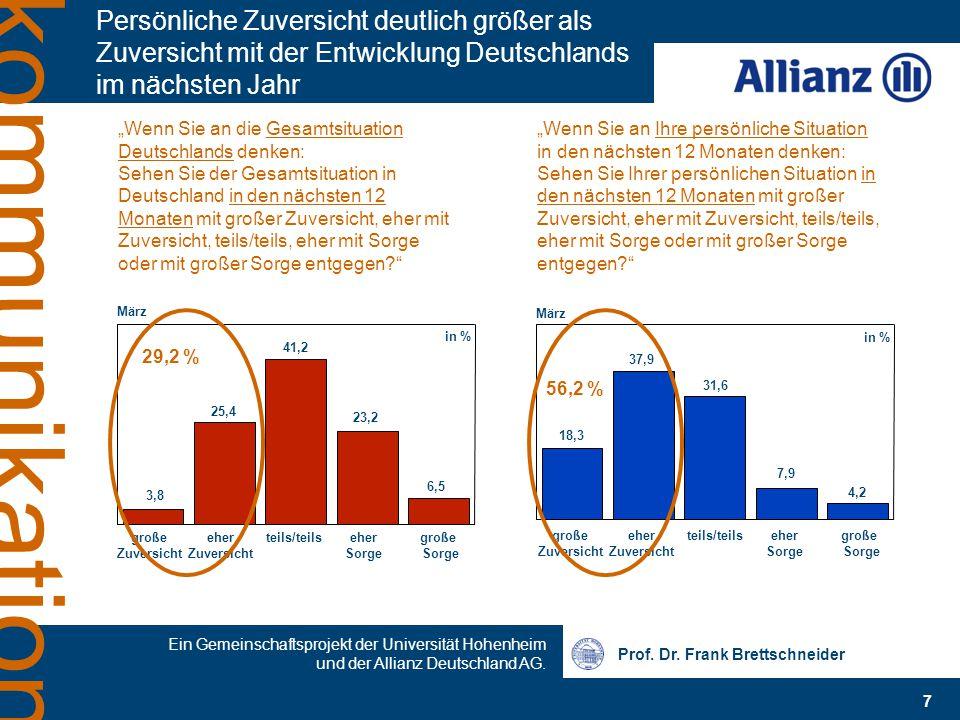 Prof. Dr. Frank Brettschneider 7 Ein Gemeinschaftsprojekt der Universität Hohenheim und der Allianz Deutschland AG. kommunikation Persönliche Zuversic