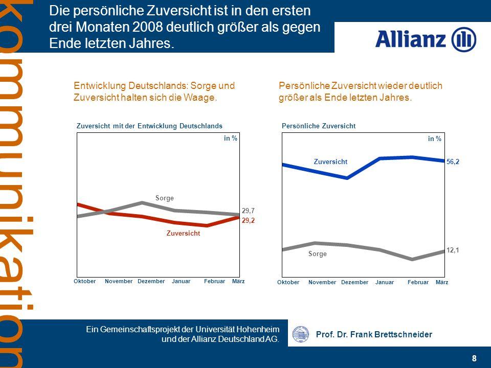 Prof. Dr. Frank Brettschneider 8 Ein Gemeinschaftsprojekt der Universität Hohenheim und der Allianz Deutschland AG. kommunikation Die persönliche Zuve