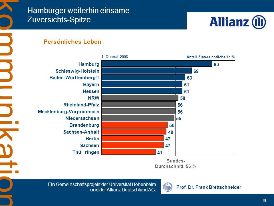 Prof. Dr. Frank Brettschneider 9 Ein Gemeinschaftsprojekt der Universität Hohenheim und der Allianz Deutschland AG. kommunikation Hamburger weiterhin