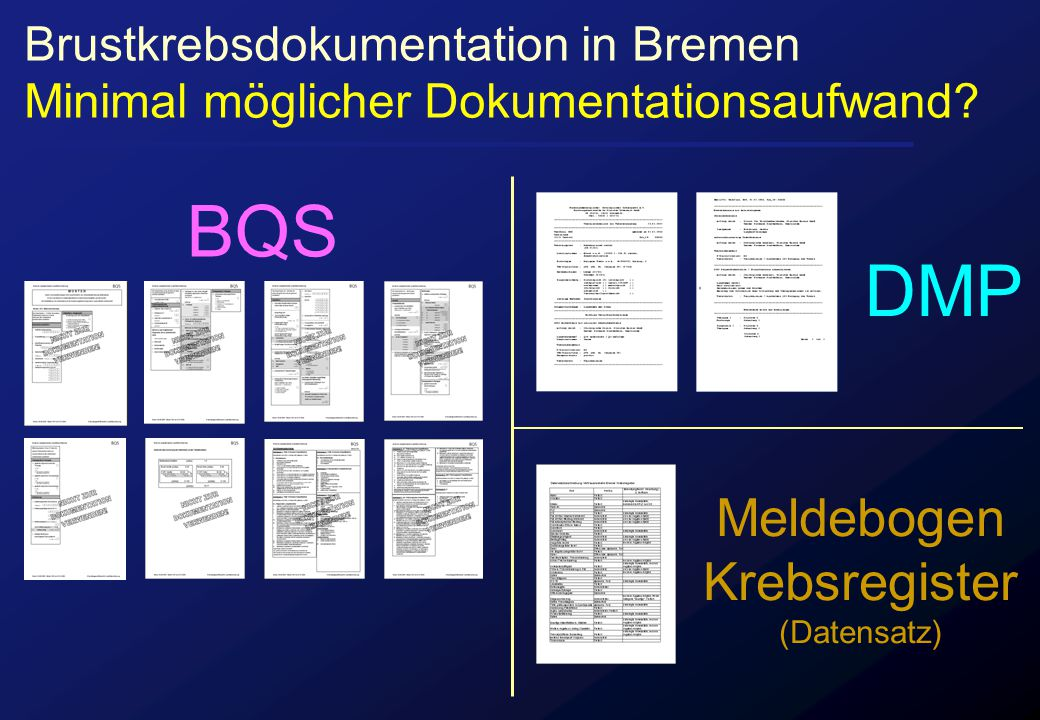 Brustkrebsdokumentation in Bremen Minimal möglicher Dokumentationsaufwand? BQS DMP Meldebogen Krebsregister (Datensatz)