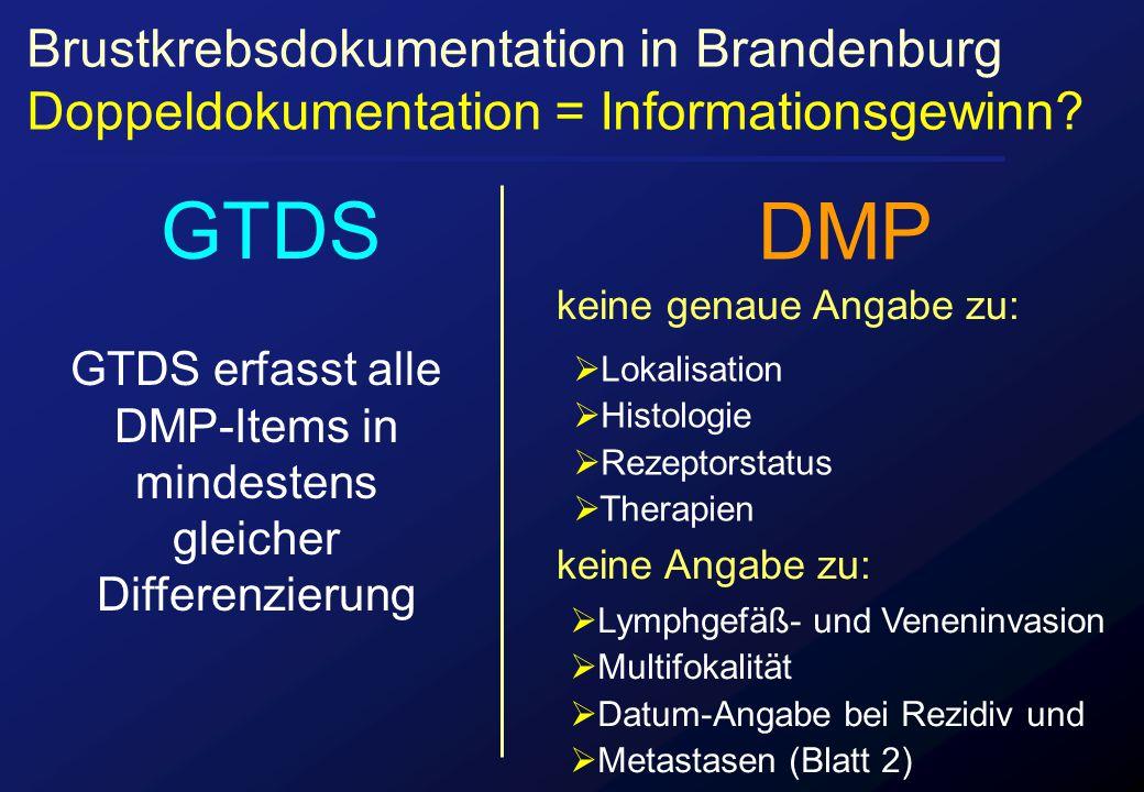 keine genaue Angabe zu: keine Angabe zu: Brustkrebsdokumentation in Brandenburg Doppeldokumentation = Informationsgewinn? GTDS erfasst alle DMP-Items