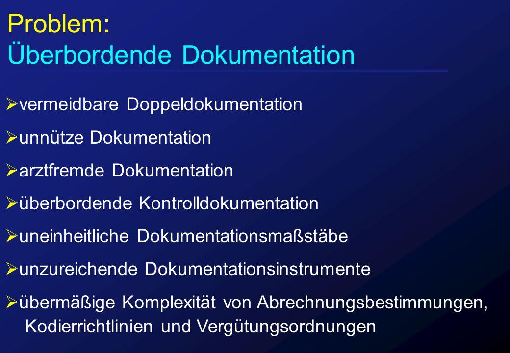  vermeidbare Doppeldokumentation  unnütze Dokumentation  arztfremde Dokumentation  überbordende Kontrolldokumentation  uneinheitliche Dokumentati