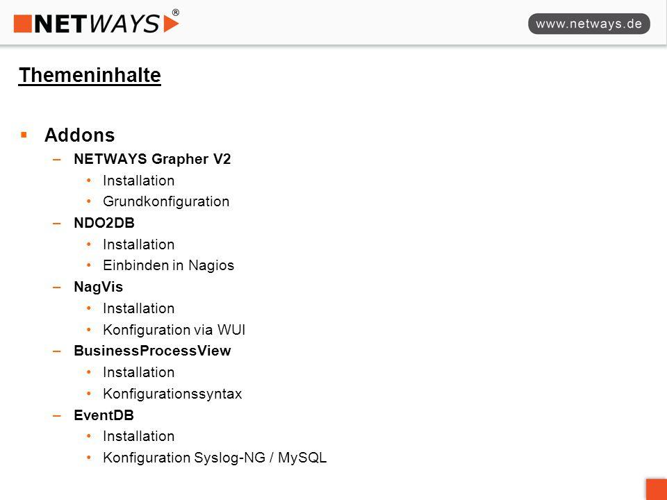 Themeninhalte  Addons –NETWAYS Grapher V2 Installation Grundkonfiguration –NDO2DB Installation Einbinden in Nagios –NagVis Installation Konfiguration via WUI –BusinessProcessView Installation Konfigurationssyntax –EventDB Installation Konfiguration Syslog-NG / MySQL
