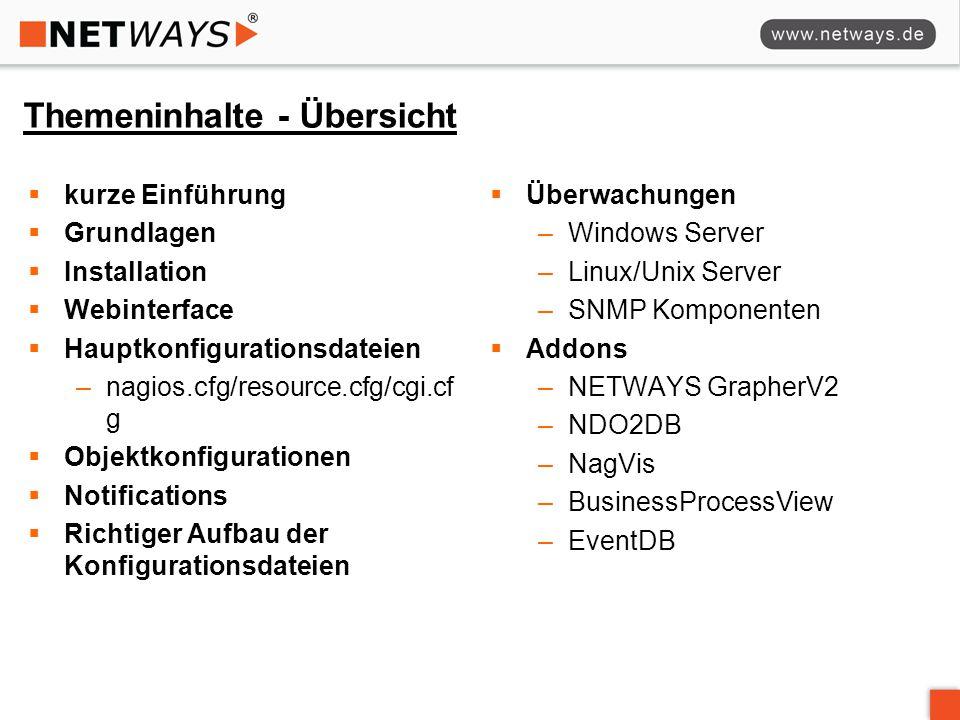 Themeninhalte - Übersicht  kurze Einführung  Grundlagen  Installation  Webinterface  Hauptkonfigurationsdateien –nagios.cfg/resource.cfg/cgi.cf g