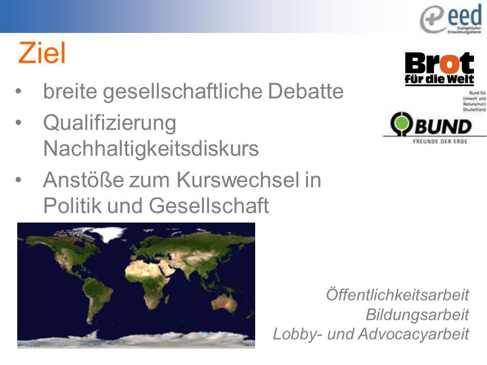Ziel breite gesellschaftliche Debatte Qualifizierung Nachhaltigkeitsdiskurs Anstöße zum Kurswechsel in Politik und Gesellschaft Öffentlichkeitsarbeit Bildungsarbeit Lobby- und Advocacyarbeit