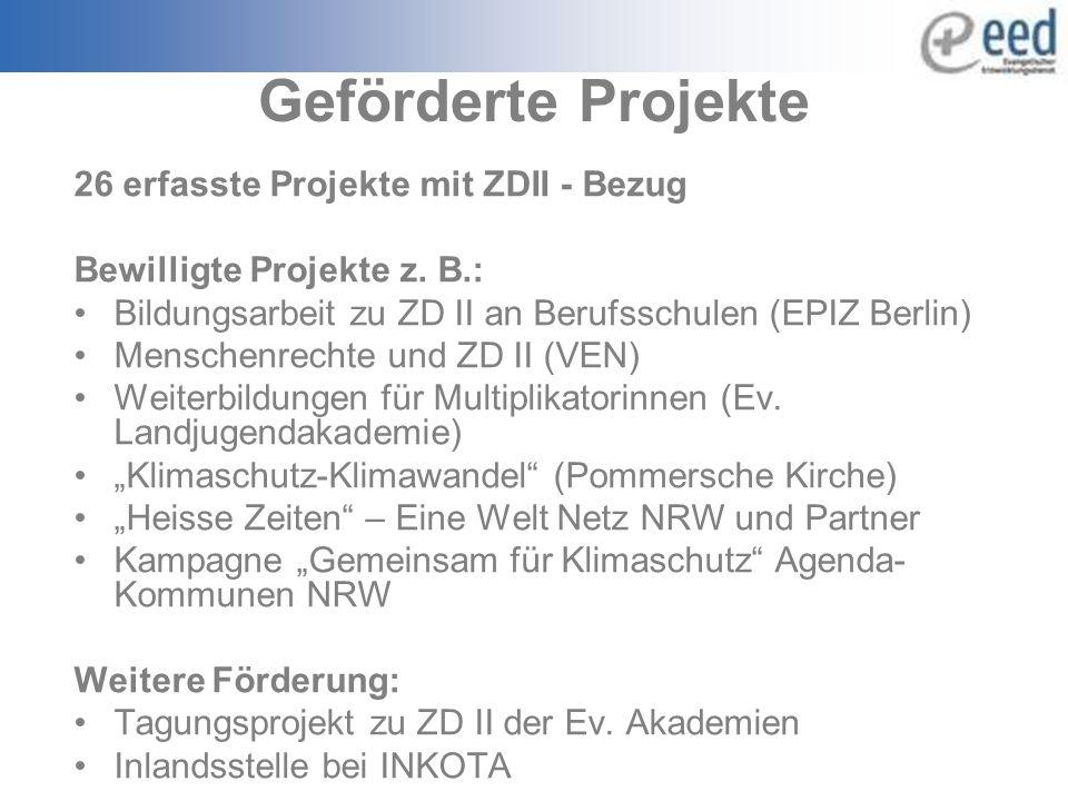 Geförderte Projekte 26 erfasste Projekte mit ZDII - Bezug Bewilligte Projekte z.