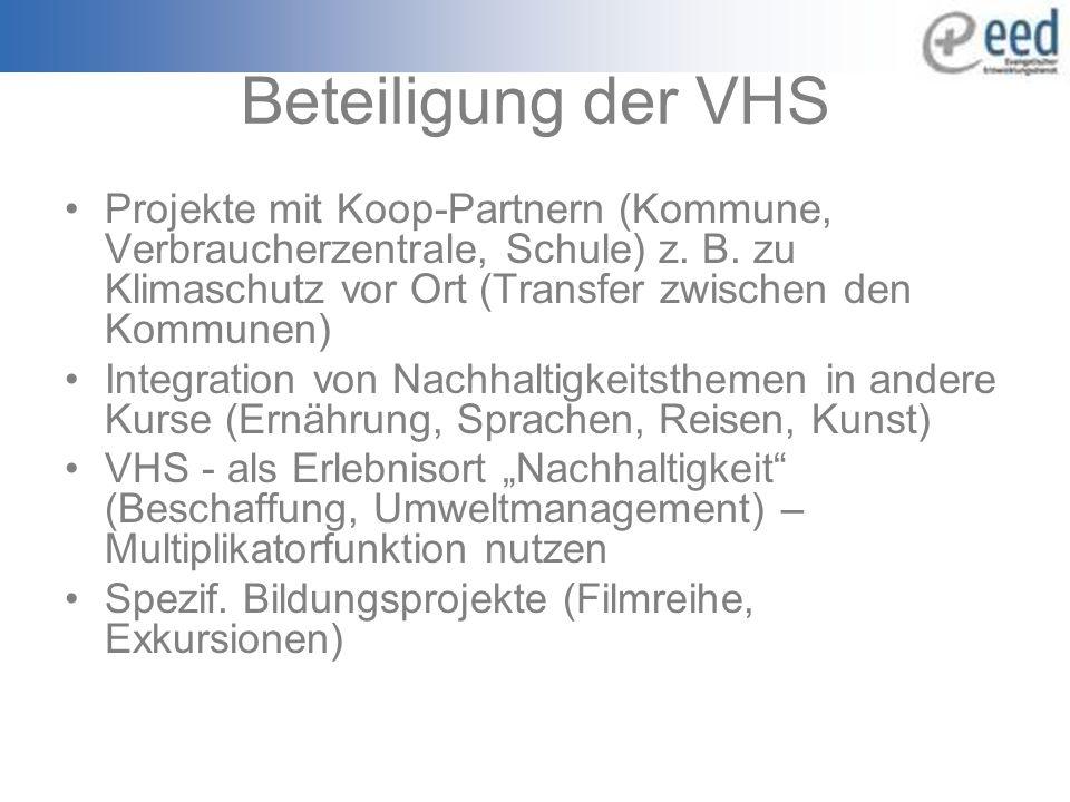 Beteiligung der VHS Projekte mit Koop-Partnern (Kommune, Verbraucherzentrale, Schule) z.