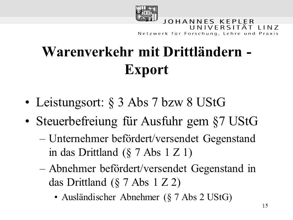 15 Warenverkehr mit Drittländern - Export Leistungsort: § 3 Abs 7 bzw 8 UStG Steuerbefreiung für Ausfuhr gem §7 UStG –Unternehmer befördert/versendet Gegenstand in das Drittland (§ 7 Abs 1 Z 1) –Abnehmer befördert/versendet Gegenstand in das Drittland (§ 7 Abs 1 Z 2) Ausländischer Abnehmer (§ 7 Abs 2 UStG)