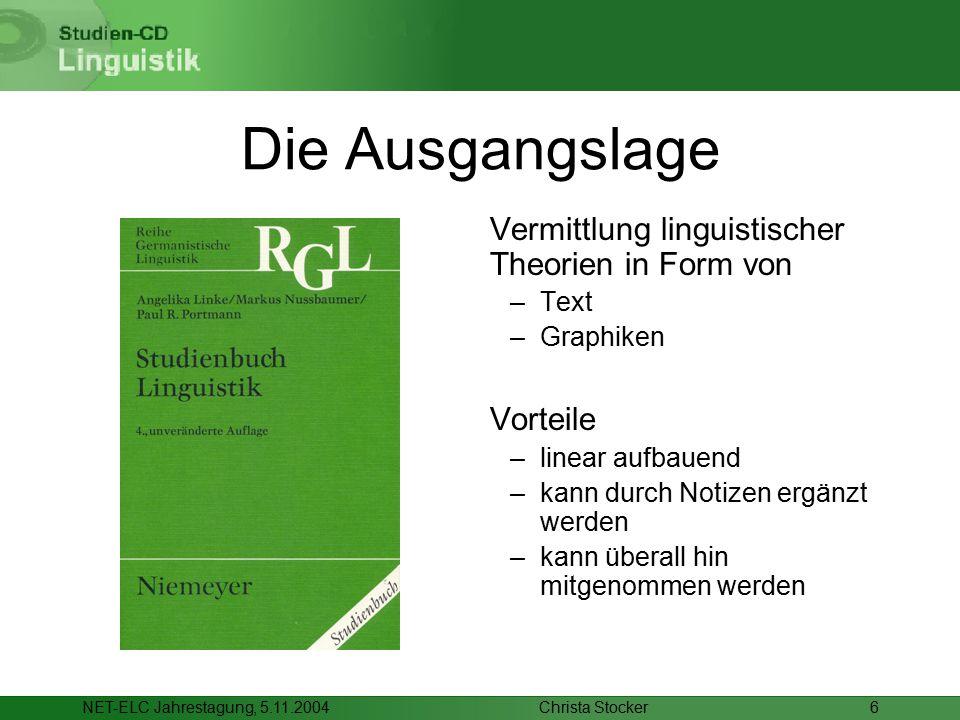 Christa StockerNET-ELC Jahrestagung, 5.11.20046 Die Ausgangslage Vermittlung linguistischer Theorien in Form von –Text –Graphiken Vorteile –linear aufbauend –kann durch Notizen ergänzt werden –kann überall hin mitgenommen werden