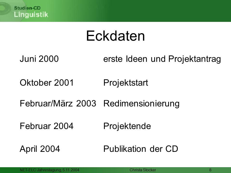 Christa StockerNET-ELC Jahrestagung, 5.11.20048 Eckdaten Februar/März 2003 Oktober 2001 April 2004Publikation der CD Februar 2004Projektende Redimensionierung Projektstart erste Ideen und ProjektantragJuni 2000