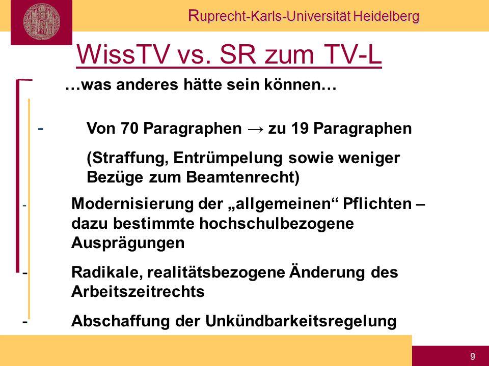 R uprecht-Karls-Universität Heidelberg 9 WissTV vs. SR zum TV-L …was anderes hätte sein können… - Von 70 Paragraphen → zu 19 Paragraphen (Straffung, E