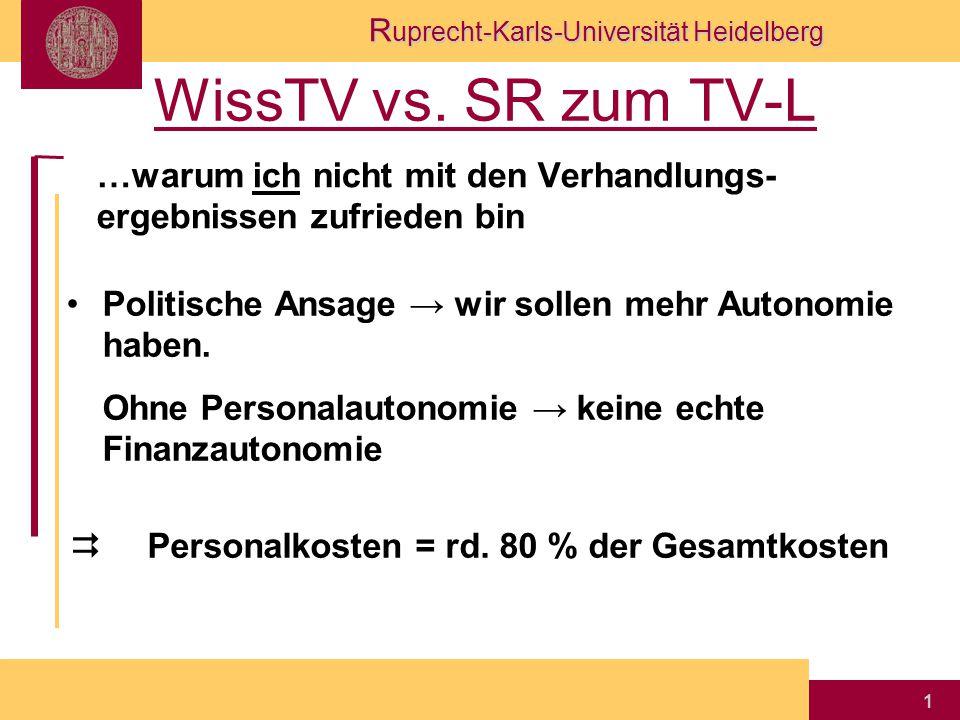 R uprecht-Karls-Universität Heidelberg 1 WissTV vs. SR zum TV-L …warum ich nicht mit den Verhandlungs- ergebnissen zufrieden bin Politische Ansage → w