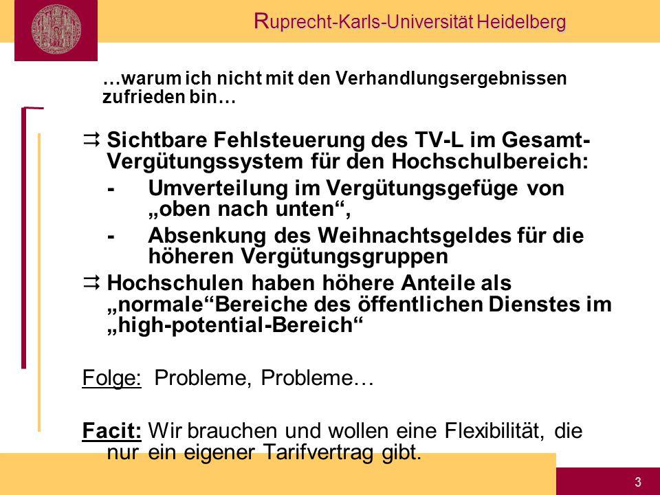 """R uprecht-Karls-Universität Heidelberg 3 …warum ich nicht mit den Verhandlungsergebnissen zufrieden bin…  Sichtbare Fehlsteuerung des TV-L im Gesamt- Vergütungssystem für den Hochschulbereich: -Umverteilung im Vergütungsgefüge von """"oben nach unten , -Absenkung des Weihnachtsgeldes für die höheren Vergütungsgruppen  Hochschulen haben höhere Anteile als """"normale Bereiche des öffentlichen Dienstes im """"high-potential-Bereich Folge: Probleme, Probleme… Facit:Wir brauchen und wollen eine Flexibilität, die nur ein eigener Tarifvertrag gibt."""