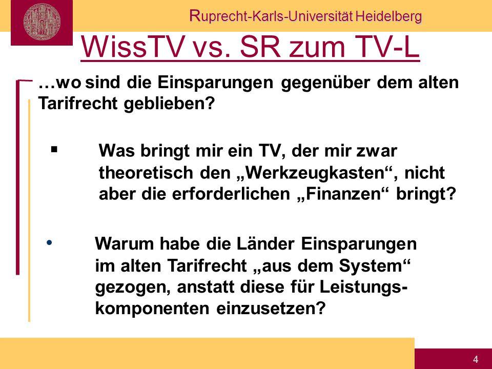 """R uprecht-Karls-Universität Heidelberg 4 WissTV vs. SR zum TV-L  Was bringt mir ein TV, der mir zwar theoretisch den """"Werkzeugkasten"""", nicht aber die"""