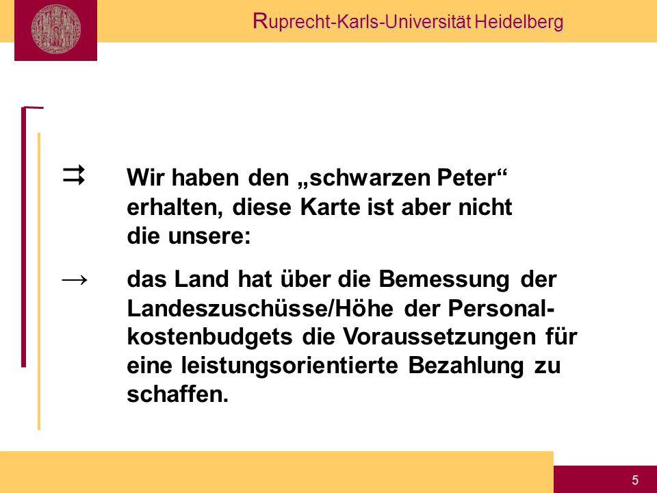 """R uprecht-Karls-Universität Heidelberg 5  Wir haben den """"schwarzen Peter erhalten, diese Karte ist aber nicht die unsere: → das Land hat über die Bemessung der Landeszuschüsse/Höhe der Personal- kostenbudgets die Voraussetzungen für eine leistungsorientierte Bezahlung zu schaffen."""